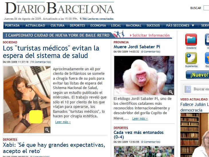 diario barcelona - turista desnuda - medios basura