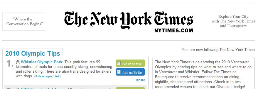 new york times foursquare